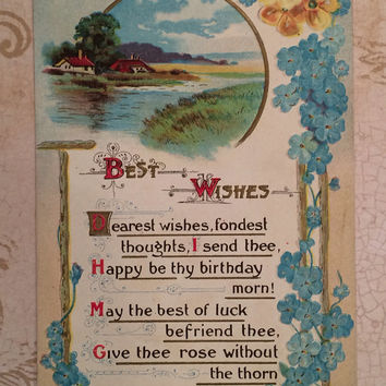 1911 Antique Birthday postcard, river scene, floral border