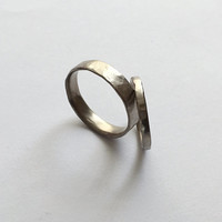 Two Organic White Gold Rings - Wedding Ring Set - Rustic Textured Bands  - 18ct Gold Molten Ring - Men's Women's - Couples - Unisex - Unique