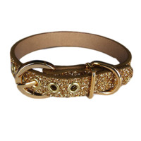 Gold glitter pure leather Twinkle dog collar