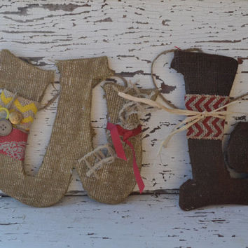 Burlap Letters custom made chevron burlap decor home decor