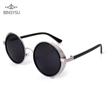 Vintage Sunglasses Round Frame Steampunk Goggles Circle Punk Sun Glasses Women Men Reflective Shades Oculos Espelhado