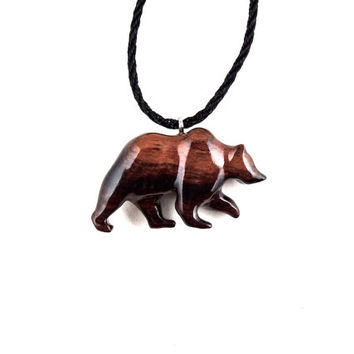 Bear Pendant, Bear Necklace, Grizzly Bear Necklace, Mens Necklace, Wood Bear Necklace, Bear Jewelry, Tribal Jewelry, Grizzly Bear Jewelry