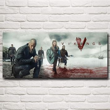 Vikings TV Series Art Silk Fabric Poster Prints Home Wall Decor Pictures 10x23 12x28 15x35 20x46 Inches Free Shipping