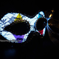 Glowing Venetian Mask, Battery Powered, Rave Wear, Glow in the Dark Masquerade, Light Up, Costume, Mardi Gras, LED