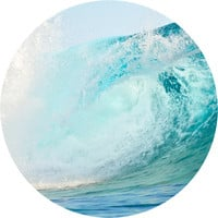 Surfing Wave Breaking Circle Wall Decal