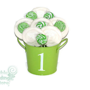 Green and White 1st Birthday Lollipop Arrangement, OOAK Candy Arrangement, Candy Centerpiece, Green, White, Candy Buffet, Birthday