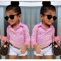 Girls 3 PC Shirt+Shorts+Belt Trendy Summer Outfit