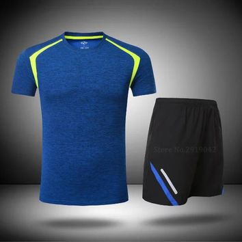 Summer 2pcs Men Jogging Running Sets sports Yoga Set Sportswea Fitness Quick Dry Gym Clothing Table Tennis Sleeve shirts shorts