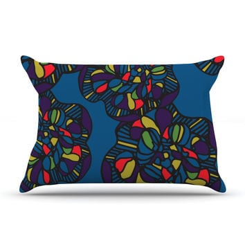 "Sonal Nathwani ""Mushroom Flower"" Navy Pattern Pillow Sham"
