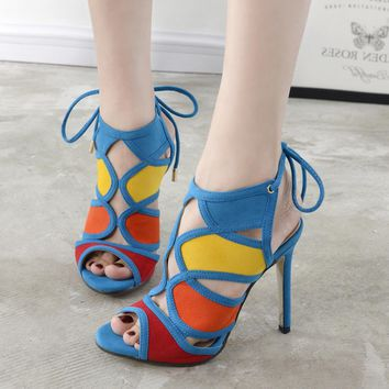 Summer Fashion Roman Women Multicolor Hollow Straps Exposed Toe Sandals Heels Shoes-1
