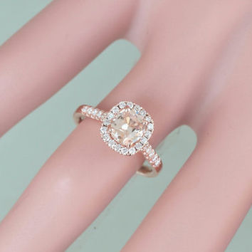 Cushion Peach Champagne Sapphire Gemstone Engagement Ring 14k Rose Gold Diamond Halo Weddings Anniversary