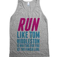 Run Like Tom Hiddleston Is Waiting-Unisex Athletic Grey Tank