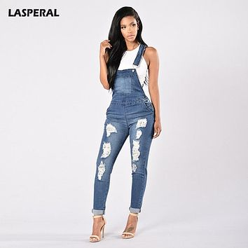 LASPERAL 2017 Denim Jumpsuits Women Fashion Ripped Hole Long Overalls Jeans Jumpsuits Feminine Casual Washed Hollow Out Rompers