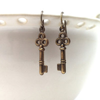 Skeleton Key Earrings Brass by GirlBurkeStudios on Etsy