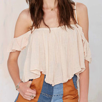 Apricot Frilled Spaghetti Strap Off Shoulder Crop Top