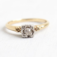 Antique 14K Yellow & White Gold 1/10 Carat Old European Diamond Ring - Vintage Size 7 Art Deco 1930s Flower Fine Engagement Wedding Jewelry