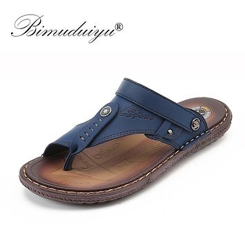 Fashion Men Beach Sandals Leather Beach Sandals Summer Breathable Casual Shoes Non-slip Slippers