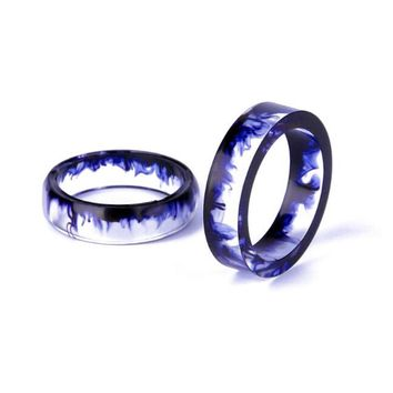 zheFanku Style Resin Couple Personality Tail Ring Ink Mirror 6-16MM/7-17mm/8-18MM/9-19MM/10-20MM Best Gifts Romantic Ring