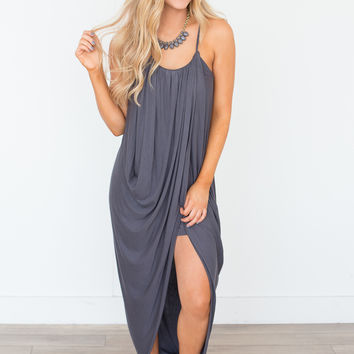 Gathered Front Maxi Dress - Charcoal