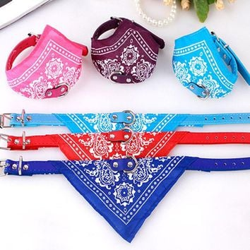 TECHOME Cute Dog Cat Bandana Scarf Collar Collars Pet Puppy Leads Adjustable Scarf Pet Collar Neckerchief Pet products 6 Colors