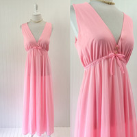 1960s cotton candy pink nightgown empire waist plunging bust babydoll Mod // nylon open back goddess maxi // size M