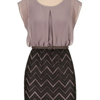 belted chevron lace skirt dress
