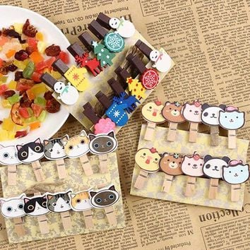 10PCS Cute Cat Animal Kawaii Pet Wooden Clothespin Office Supplies Photo Craft Clips DIY Clothes Paper Peg Party Decoration