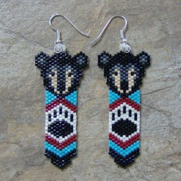 Black Bear Feather Earrings Hand Made Seed Beaded Native Inspired