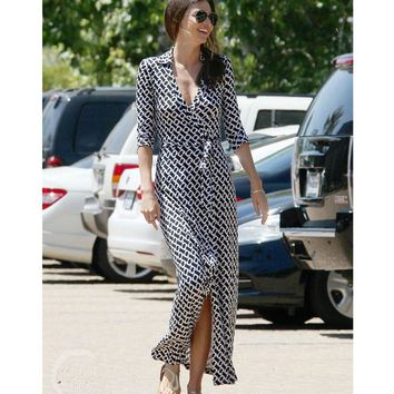 famous brand womens clothes elegant runway dress 2017 summer geometric print black and white dress sexy v neck long wrap dress