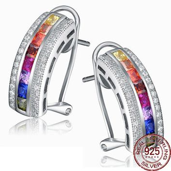 Aceworks Ethnic Multicolor Zirconia 925 Sterling Silver Stud Earrings Women Wedding Gift Jewelry Retro Indian Style Luxury