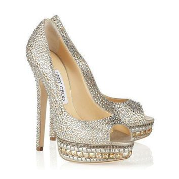 Jimmy Choo Women Fashion Platform Diamonds Heels Shoes