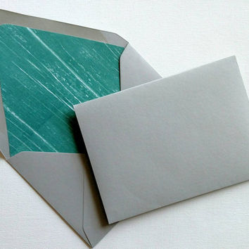 Set of 9 lined envelopes, set of 9 gray and teal lined envelopes, decorative envelopes, set of 8 decoratively lined envelopes, envelope set.