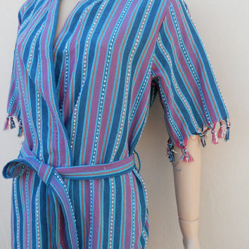 Turkish peshtemal style cotton women's kimono bathrobe, bridesmaids robe, spa robe, sauna robe, beach cover up, dressing gown, morning gown.