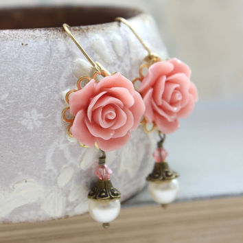 Coral Pink Rose Earrings Swarovski Pearl Drop Floral Dangle Pink Flower Leverback Bridal Accessories Wedding Jewellery Bridesmaids Gift