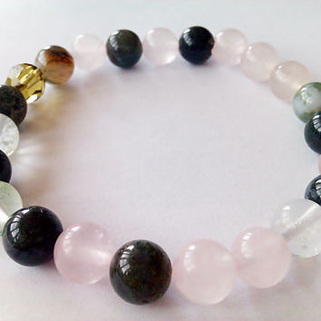 Heart chakra Healing&balancing Gemstone bracelet with OM charm, Rose Quartz,Aventurine, Agate,LOVE Positive Intentions Law of Attraction