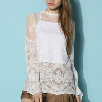 Beloved Sheer Lace Smock  White S/M
