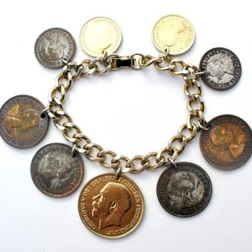 Coin Charm Bracelet Vintage Gold Charms