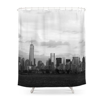 Society6 Manhattan Skyline From Liberty Park Shower Curtains