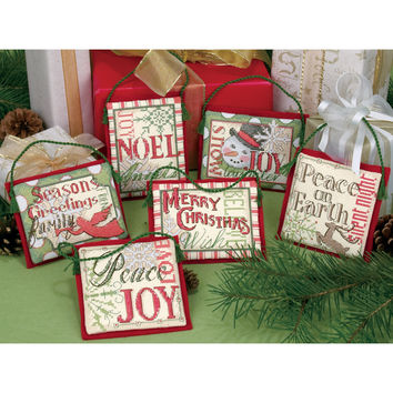 """Christmas Sayings Ornaments Counted Cross Stitch Kit-Up To 4"""""""" Tall 14 Count Set Of 6"""