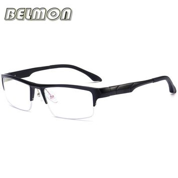 Eyeglasses Spectacle FrameMen Computer Optical Eye Clear Lens Glasses  AL-MG Frame For Male Transparent Armacao Oculos de RS127