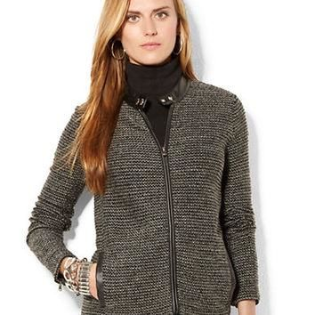 Lauren Ralph Lauren Petite Faux Leather Trim Tweed Jacket