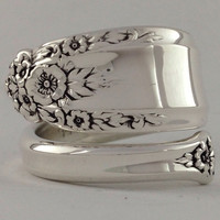 Size 10 Vintage Sterling Silver Floral Spoon Ring