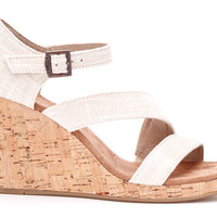 Natural Linen Women's Cork Clarissa Wedges