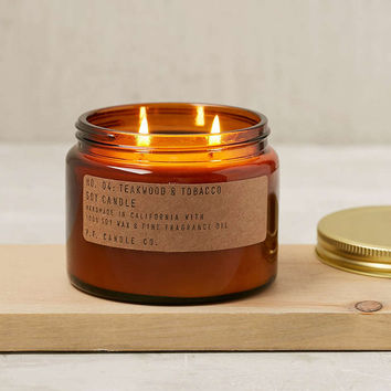 P.F. Candle Co. Double Wick Teakwood & Tobacco Jar Candle - Urban Outfitters