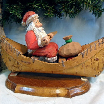 Santa, hand carved, gift for collectors, 5th anniversary, Christmas, santa collectors, original wood carving by Dan Easley