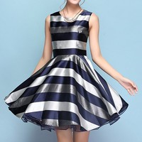 Hit Color Striped High Waist Sleeveless Fit & Flare Dress