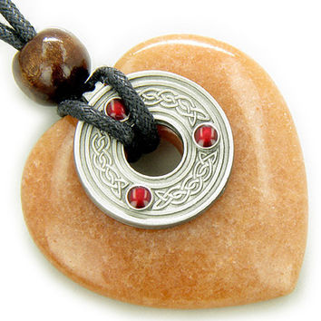 Celtic Triquetra Knot Money Amulet Orange Quartz Heart Pendant Necklace