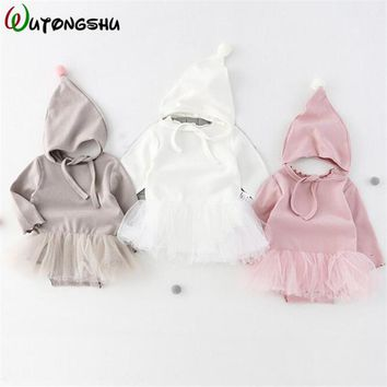 Baby Rompers With Hat Long Sleeve 1st Birthday Princess Girls Tutu Dress Clothing Jumpsuits Spring Autumn Newborn Baby Clothes
