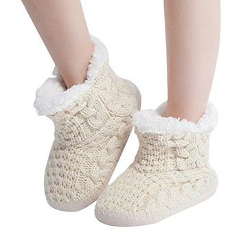 MaaMgic Womens Fuzzy Cable Knit Christmas House Slippers Ladies Cute Bedroom Indoor Winter Slippers