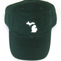 Michigan Hat - Classic Dad Hat - White on Forest Green - All States Available